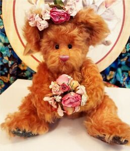 "Annette Funicello 14"" Mohair Jointed Teddy Bear Flowers Cute and Cuddly"