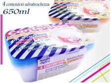 Set 4 Contenitori Salvafreschezza In Plastica Per Alimenti Microonde 650ml moc
