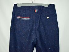 $1050 New Thom Browne Navy Donegal Unstructured Wool Pants Men Size 1 32W