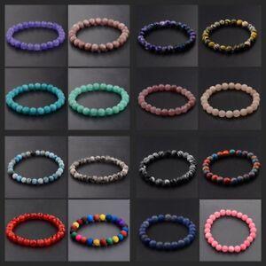 Fashion 8mm Mixed Natural Stone Reiki Round Beads Men's Bracelets Jewellery Gift