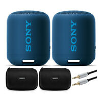 Sony SRS-XB12 EXTRA BASS Portable Bluetooth Speaker (Blue) Stereo Pair Bundle