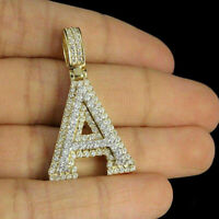 10K Yellow Gold Finish 3D Custom 'A' Initial Letter 2.00Ct Diamond Charm Pendant