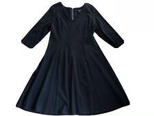 lane Bryant Women 14/16 Black V Neck 3/4 Sleeve Fit Flare Stretch Sheath Dress X