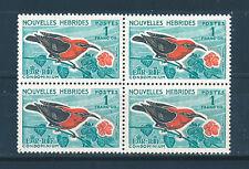 NEW HEBRIDES (FR) 1963 DEFINITIVES SG F121 1f. (BIRD) BLOCK OF 4 MNH
