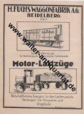 Fuchs Waggon-Fabrik Heidelberg Eisenbahn LKW Große Werbeanzeige von 1926 Reklame