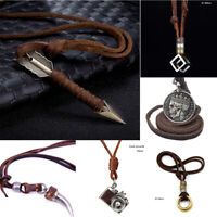 Men Genuine Leather Mens Necklace, Adjustable Rope Pendant Chain Cord Punk GIFT