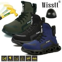 Men's Steel Toe Work Boots Safety Shoes Indestructible Cushioned Sole Trainers