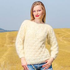 Summer ivory hand knit designer sweater light fuzzy lace unique top SUPERTANYA