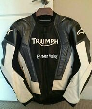 New Mens Triumph Black/White Motorcycle Racing 100%Cowhide Leather Jacket  SIZES