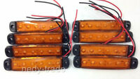 8 x Side Marker Light Lamp 6 LED Bus Van Truck Lorry Trailer Indicator 12V Amber