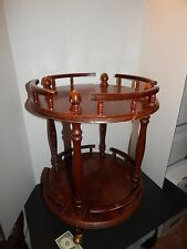 Mid Century Vintage - 2-Tier Wood Side Colonial Drum Table w/ Spindles