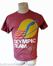 OLYMPIC ring downhill ski skiing jump alpine team homage vtg red nordic freestyl