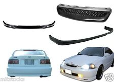 96 97 98 CIVIC 2 / 4 DOOR PU BLACK ADD-ON FRONT + REAR BUMPER LIP + HOOD GRILL