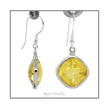 Sterling Silver Rhombus Drop Earrings CZ Yellow #65377