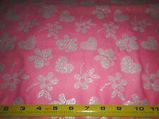 Glitter Butterflies Hearts Flowers Toss Ross Pink Cotton Flannel Fabric 2 Yd L