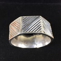 Vintage Sterling Silver Bracelet Large Chunky Hinged Bangle Ribbed Modernist 925
