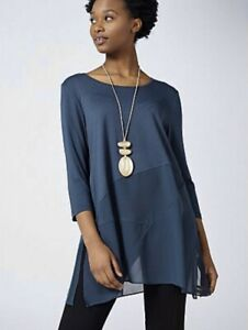 WynneLayers Scoop Neck Mixed Media 3/4 Sleeve Top Ink Blue Size XL BNWOT NEW
