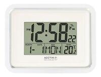 Acctim Delta Radio Controlled Wall Clock MSF Signal Digital Calendar Temperature