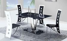 ATHENA - 5PC MODERN GLASS DINING TABLE & 4 BLACK CHAIRS D551DT + D803DC-BL