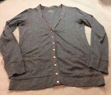 J. CREW Slub Cotton Button Front Cardigan Sweater Top Shirt Pockets Gray Med
