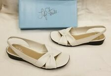 LifeStride Mimosa White Leather Women Wedge Heel Open Toe SlingBack Shoe 11 $50