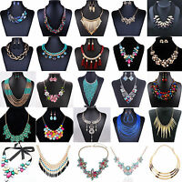 Hot Women Crystal Rhinestone Statement Bib Chain Choker Pendant Necklace Jewelry