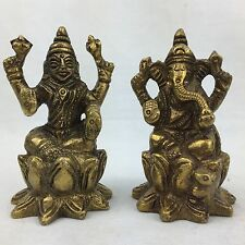 NEW Collectable Brass Traditional Lord Ganesha Lakshmi Statue Brass Sculpture