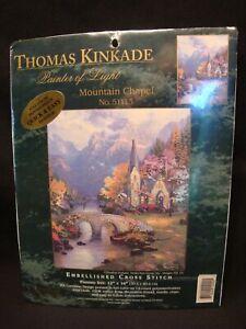 2002 #51113 Candamar Thomas Kinkade Mountain Chapel Cross Stitch Kit-New