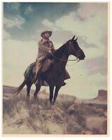 Vintage Color 8 x 10 Photo of Cowboy on a Horse