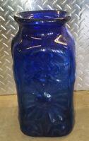 Blenko style Large Cobalt Blue Blown Glass Vase 3d pattern 15in