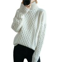 Women's Cashmere Turtleneck Sweater Long Sleeve Warm Thicken Knitted Pullovers L