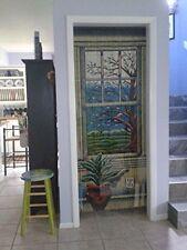 Bamboo Beaded Curtain Door Way Wooden Panel Hanging Hardware Wall Window Art New