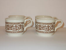 4 x Biltons Ceramic Coffee Cups with Brown Retro Style Floral Design - Lovely