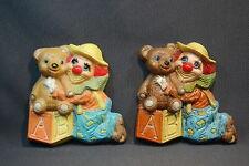 Vintage Frankies Designs Nursery Wall Plaques Bears & Clowns & Blocks