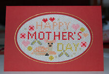 Completed Cross-stitch Mothers Day Card - Red