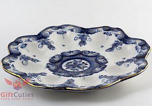 Porcelain Gzhel Egg Holder Plate Platter Easter Egg Display handmade Author wrk
