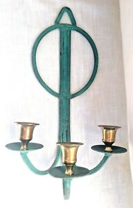 Vintage Verdis Gris Solid Brass 3 Candle Holder Wall Sconce - Art Deco