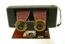 BLAIR Camera Weno Stereo antique wooden red bellows Bausch Rectilinear /19K