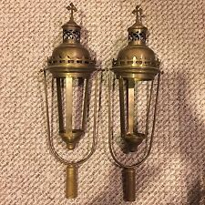 Antique Pair Of Beautiful Brass Gothic Church Lanterns Lamps Processional