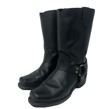 Durango Mens Black Leather Round Harness Sq Toe Motorcycle Boots Size 10