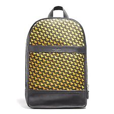 NEW MENS COACH (F22372) BLACK NYLON SLIM BUNNY PRINT BACKPACK LAPTOP BAG