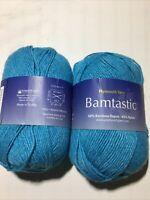 Yarn Plymouth Bamtastic Rayon/Nylon 60/40  100gr 248 Yd 2 Skein Blue