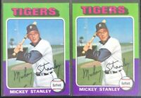 MICKEY STANLEY 1975 TOPPS (2) VINTAGE BASEBALL CARD LOT #141