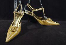 CHANEL Italy Copper Snakeskin Camellia Pointed Toe Stiletto Heel Sz 37 1/2