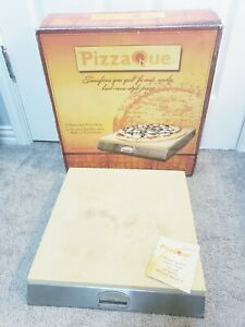 """PizzaQue Pizza Stone & Stainless Steel Base w/ Thermometer Fire Grill 15x16"""""""