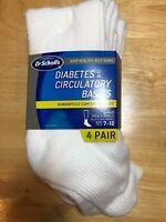 DR SCHOLL'S 4 PAIR DIABETES  CIRCULATORY BASICS MENS ANKLE SOCKS WHITE SIZE 7-12