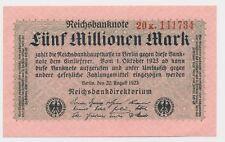 Reichsbanknoten 5 Millionen Mark 1923  Ro.104b / Pick 105  Erh. ( 1 ) UNC ( 363