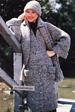 RIBBED COAT,SCARF & HAT / 12ply or bulky - COPY Ladies knitting pattern