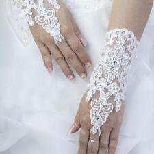 Short White/Ivory Lace Wrist Bridal Gloves Fingerless Bead Wedding Accessories