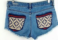 PS Erin Wasson Womens Size 28 Shorts Blue Denim Cutoff Distressed Knit Pocket